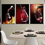 KDSFHLL 3 Pinturas Decorativas 3 Piezas Moderna Pintura en Lienzo con Aerosol Verter Grupo de Vino Tinto Pintura Al Óleo para Comedor Vino Cuadro en la Pared Cartel
