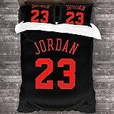 Jordan 23 Basketball Michael 3-Piece Bedding Set 86'' X70 Comforter Quilt Set Twin Size Soft Duvet Cover Set with 1 Quilt Cover 2 Pillow Shams for Teens Boys Girls