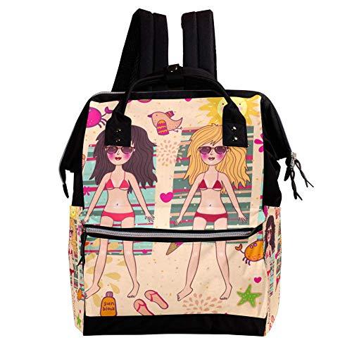 Bikini-Mädchen Casual Rucksack mit großer Kapazität Multi-Pocket Out Reisetasche Schultasche für Jungen und Mädchen Kinder 27x19.8x36.5cm