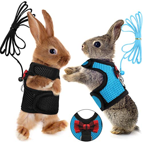 SATINIOR 2 Pieces Guinea Pig Harness and Leash Soft Mesh Small Pet Harness with Safe Bell, No Pulling Comfort Padded Vest for Guinea Pigs, Ferret, Chinchilla and Similar Small Animals(Blue, Black, L)