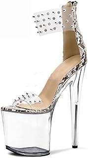 YXX Escarpins Femme Talons Plateforme - 15CM Escarpins Peep Toe - 10CM Plateforme Talon Chaussures Open Toe