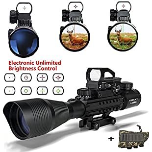 Rifle scope,UMsky 4-12x50 Air Rifle Scopes Red&Green Mil-Dot Illuminated Hunting Scope Sight for Tactical Hunting Rifle Scopes Optics:Deepld