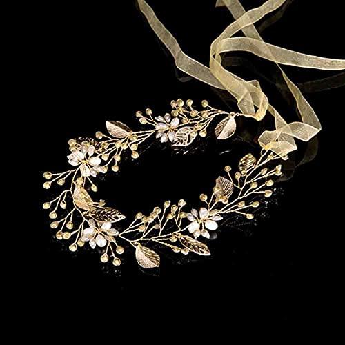 Zhou-YuXiang Charmante Coiffure de mariée Diamant doré Bandeau de Front de mariée pour Femmes Accessoires de Cheveux diadème Cerceau de Cheveux