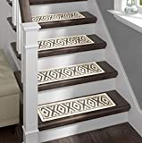 Sofia Rugs Shaggy Stair Treads - Gray Diamond Aura - Carpet Runner Strips for Staircase Steps - Rug-Soft Fabric for Traction and Non-Slip Improvement - Includes Double Sided Adhesive Tape