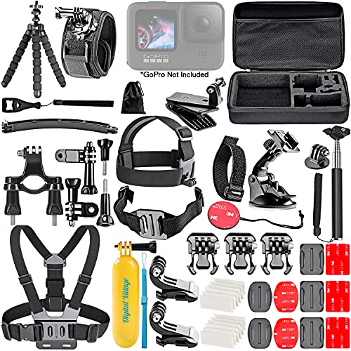 Digital Village 50 Piece Accessory Kit for GoPro Hero9/Hero8/Hero7, GoPro Fusion, GoPro Max Camera Action-Cam Bundle