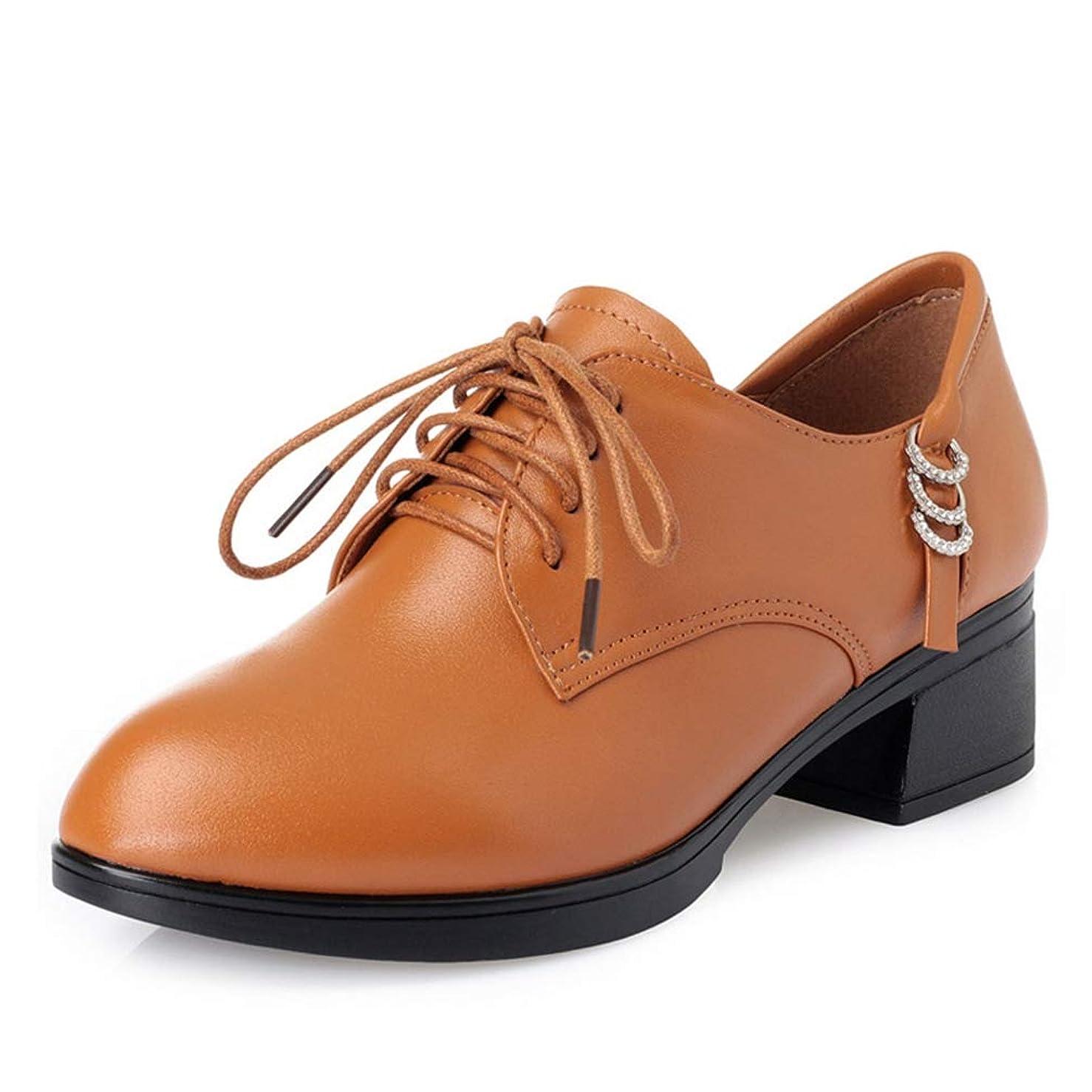 大きい荒らす年次[THLD] 革靴 レースアップシューズ おじ靴 レディース オックスフォード 通勤 学生 皮靴 通学 太めヒール レザー カジュアル ローヒール 牛革 厚底靴 フラット