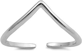 California Toe Rings Unisex-Child Sterling Silver Chevron Adjustable Toe Ring