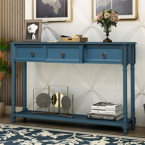 34' H Console and Sofa Table with Storage Drawers and Shelf for Hallway Entryway (Antique Navy)