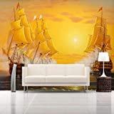 Hhkkckカスタム任意のサイズの壁画壁紙3Dヨット油絵写真壁紙用リビングルームテレビソファ背景壁装材3 D-120X100Cm