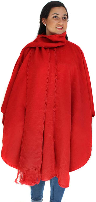 CELITAS DESIGN Alpaca Wove Wool Cape Ruana Poncho Wrap with Scarf Made in Peru RED