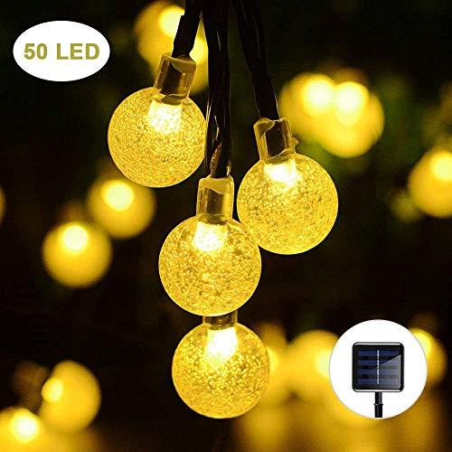 ZYEZI Impermeabile 50Led Strip Crystal Ball, Led Solar Lawn Lamp Fata Solar Battery String Lights Per Outdoor Garden Decorazioni di Natale Warm White Strings