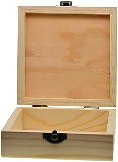 صندوق خشبي عادي من كونج صندوق خشبي مفصلي خشبي صندوق مجوهرات، صندوق تخزين خشبي مع غطاء زينة للنساء والمراهقين والرجال