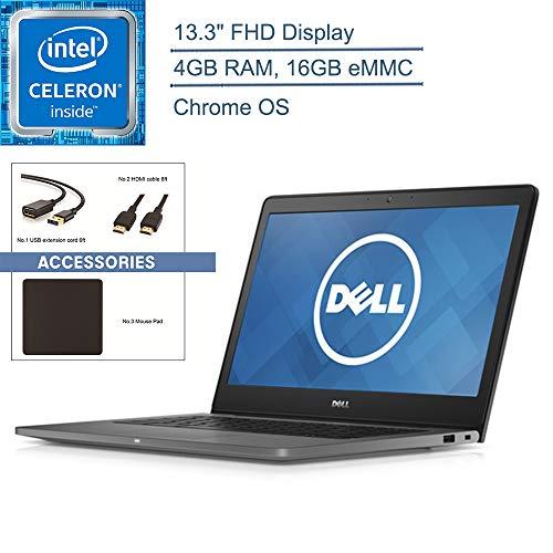 "2020 Dell Chromebook 13 7310 Notebook Laptop Computer, 13.3"" FHD, Intel Dual-Core 3215U, 4GB DDR3, 16GB eMMC, Bluetooth, Chrome OS, Black(Renewed), YZAKKA Accessories"