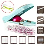 Ourokhome Onion Dicer Food Chopper - 8 Blade Veggie Mandolin Slicer for Vegetable, Fruit, Cheese with Cleaning Brush and Vegetable Peeler (Cyan)