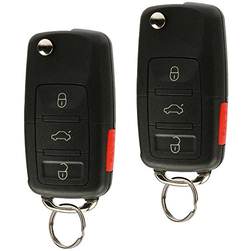 Replacement Keyless Entry Remote Flip Key Fob fits 2002 2003 2004 2005 VW Jetta, Golf, Passat (HLO1J0959753AM, Set of 2)