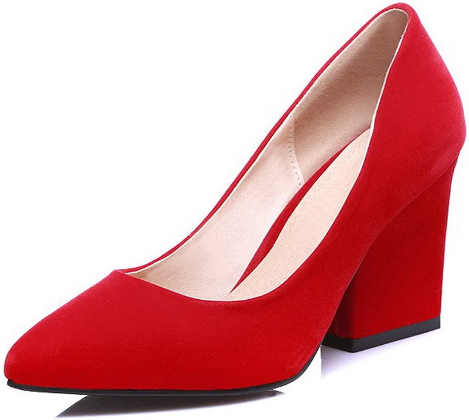AmoonyFashion Women's Frosted Pointed Closed Toe High Heels Pull On Solid Pumps-shoes
