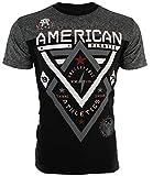 American Fighter Mens T-Shirt Alaska Pattern Biker Elephant Print Gym UFC (Small) Black