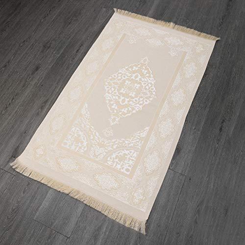 Imanpaper - Muslimische Gebetsteppich Extra dünn in Weiß-Gold | Namaz-LIK Seccade, Gebets Matte | Salah Sejadah, Islamic Prayer mat Rug, für das Gebet im Islam, Idee 1,20x0,69m