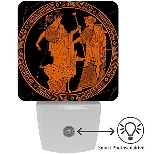 Lorvies LED-Nachtlicht im antiken griechischen Stil, Apollo und Artemis, mit automatischem Sensor, für Schlafzimmer, Badezimmer, Küche, Flur, Treppen, Flur, Babyzimmer, energiesparend (UK-Stecker)