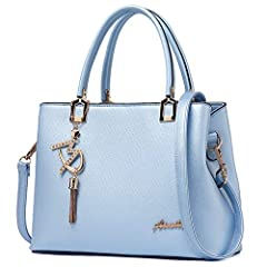 """MATERIAL: High Quality PU leather purses handbags shoulder tote bags; Fashionable and durable. DIMENSIONS: 11.8""""L x 5.1""""W x 8.5""""H. Double handles with 5.1"""" drop. Its quite roomy from side and can accommodate lot of stuff. POCKETS: 2 Main Compartments..."""
