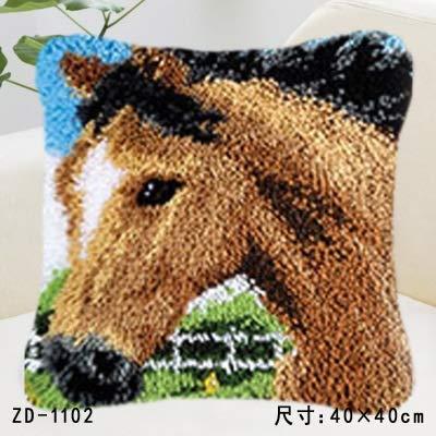 Animal Series Knüpfteppich Kits Hunde 3D-Segment Stickerei Kissen Wolle-Kreuz-Stich Teppich Stickerei DIY Verriegelungshaken Kissen (Color : ZD1102)