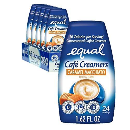EQUAL Café Coffee Creamers Caramel Macchiato, Low-Calorie Coffee Creamer, 1.62 Ounce (Pack of 6)