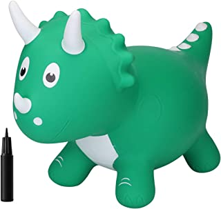 EVERICH TOY Dinosuar Bouncy Horse-Hopping Bouncy Animals for Baby-Inflatable Jumping Animals Toys-Horse Hopper Gift with Pump for 18Months 2 3 4 5Years Olds Kids Boys Girls (Dark Green Triceratops)