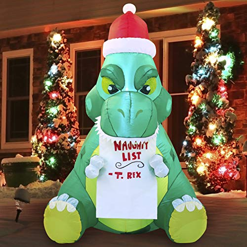 Joiedomi 5 FT Long Sitting Dinosaur Inflatable Build-in LEDs Blow Up Inflatables for Xmas Party Indoor, Outdoor, Yard, Garden, Lawn, Winter Decor
