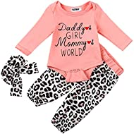 YJZIWX Newborn Baby Girl Clothes Ruffle Long Sleeve Bodysuit Floral Pants with Headband 3Pcs Infant Girl Outfits Set 0-2T