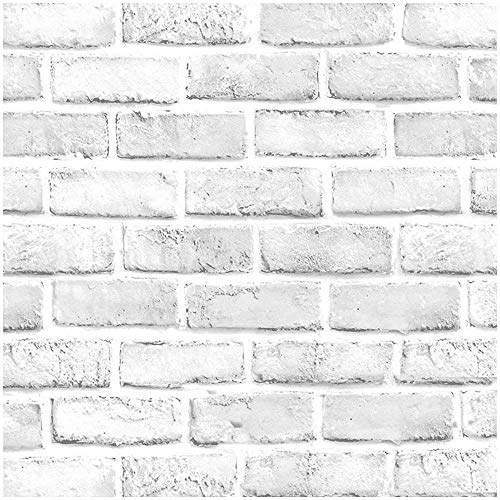 """Faux Brick Wallpaper, H2MTOOL Removable Self Adhesive White Gray Wallpaper Peel and Stick for Home Decor (17.7"""" x 78.7"""", White Grey)"""
