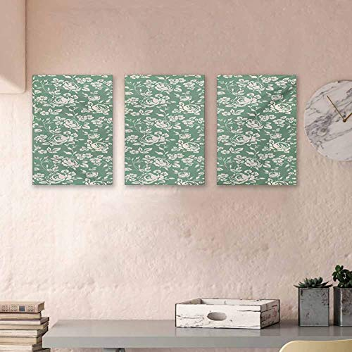 """Floral Canvas Wall Art Set Classic Rose Branches Victorian Petals Romantic Botanical Blossom Pattern 3D Hand-Painted On Canvas Art Prints for Home Walls Decor, 16""""x24""""x3 Piece Reseda Green Cream"""
