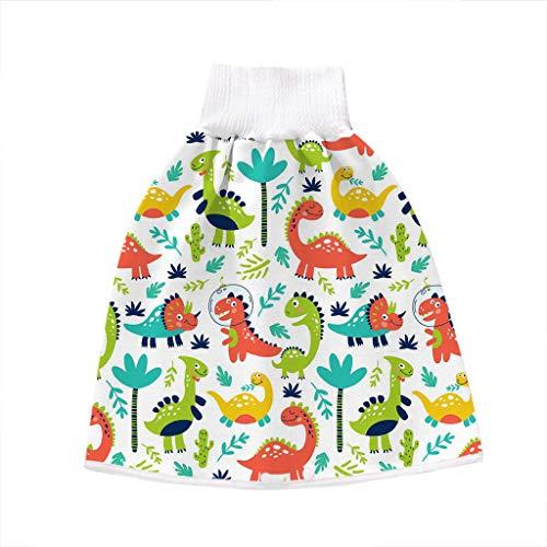Manyao - Falda de pañal para bebé, pañales antifugas, lavable, falda de entrenamiento, braga de bebé dinosaurio L