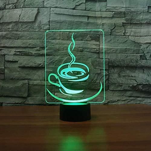 3D Illusion Nachtlicht 7 farbe Led Vision Kaffeetasse Modell USB Tisch Home Office Decor bunte Kreative geschenk Fernbedienung