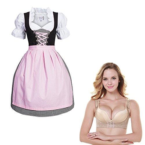 Gaudi-Leathers Dirndl Set 4tlg. Trachtenkleid schwarz weiß kariert Schürze in rosa + Push Up Büstenhebe BH 40 M