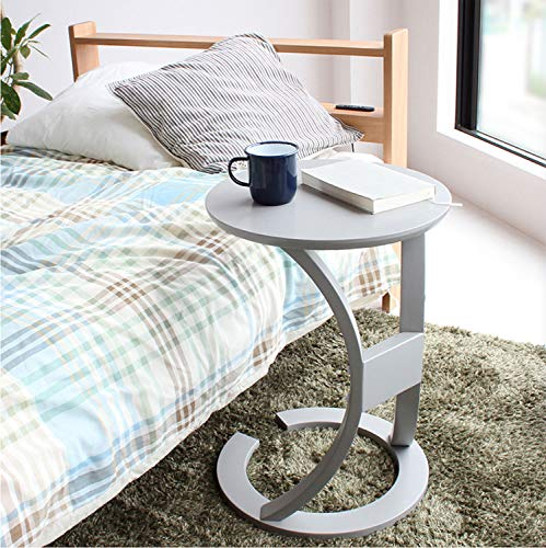 市場サイドテーブル幅40x奥行40x高さ56cmグレー手元まで寄せることができるデザインILT-2987GY