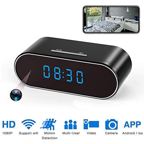 HUNDAN 2 En 1 Cámara Digital Reloj Despertador, Cámara Inalámbrica WiFi Oculto, 1080P HD Grabador De Vídeo con Detección De Movimiento Y La Visión Nocturna, Apto para iOS/Android