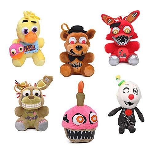 """Set of 6 Five Nights at Freddy's 6"""" Plush Toys Set Cupcake Toy Chica Spring Trap Freddy Foxy Ennard Plush Keychain FNAF Toy Bear"""