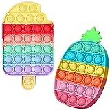 YAJ Push Pop Bubble Fidget Toy,Juguete Antiestrés Sensorial Juego Herramientas para aliviar el estrés y la ansiedad para niños y Adultos (Pineapple & Ice Cream)