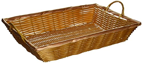 Winco PWBN-16B 16-Inch by 11-Inch by 3-Inch Rectangular Woven Basket with Handles,Medium