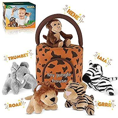 Jungle Friends Talking Plushie Set - for 1 Year Old & up Boy & Girl Baby, Realistic Sounding Stuffed Animal Toys Babies, Toddlers & Children - Lion, Elephant, Tiger, Zebra & Monkey - Carrier