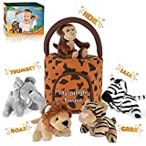 Jungle Friends Talking Plushie Set - for 1 Year Old & up Boy & Girl Baby, Realistic Sounding Stuffed...