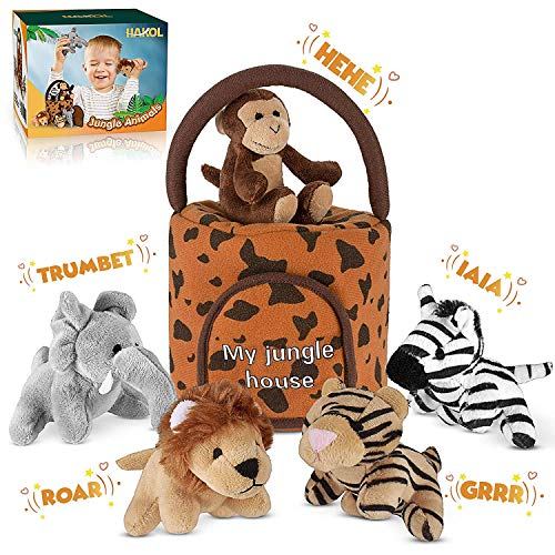 Jungle Friends Talking Plushie Set - for 3 Year Old & up Boy & Girl Baby, Realistic Sounding Stuffed Animal Toys Babies, Toddlers & Children - Lion, Elephant, Tiger, Zebra & Monkey - Carrier