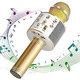 DAMIGRAM Bluetooth Karaoke Micrófono, Portátil Inalámbrica Micrófono y Altavoz del Karaoke de Bluetooth de 4,1 parlantes, para el Hogar KTV, Conectando con iOS, Sistema Android y Tabletas (Gold)