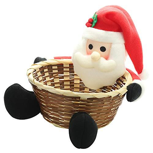 Galapar Cesta de almacenaje para Navidad Caja de Dulces Soporte de Cesta de Almacenamiento Decoraciones navideñas Regalos Suministros de Navidad