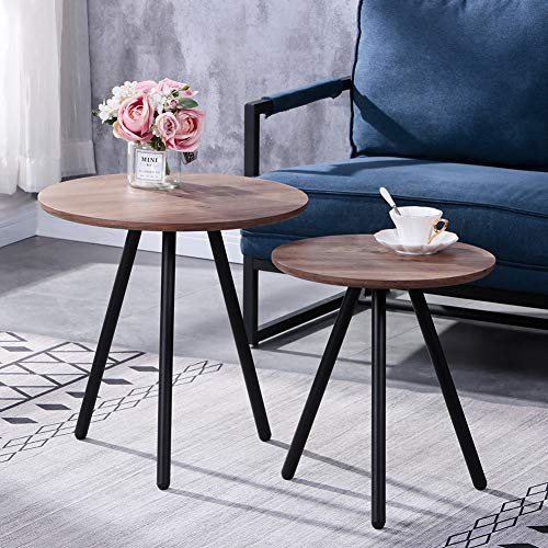 GOLDFAN Nesting Coffee Table Set of 2 Stackable Side End Tables for Living Room, Round Wooden & Metal Sofa Tables, Brown
