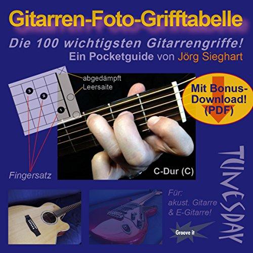Gitarren-Foto-Grifftabelle im Taschenformat - Akkordtabelle für Gitarre mit Diagrammen und Fotos + Bonus-PDF zum Download