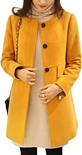 9be213742250a Lutratocro Womens Fashion Collarless Single Breasted Woolen Overcoat Pea  Coat Jacket