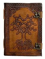 ヴィンテージレザー ハンドメイド クレーブアンティークジャーナル ライティングノートブック ロック可能 オールドパーソナル リファイリング ヴィーガン 裏地なし スケッチ レザー バウンド ジャーナル ラージサイズ(7×10インチ) (ブラウン)(生命の樹)