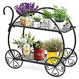 Giantex Garden Cart Metal Plant Stand with 4 Decorative Wheels, Succulent...
