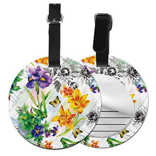 Slaytio Personalisierbare Garten-Lilie, Violett, Saintpaulia Blumen, Aquarell mit Schmetterlingen, rund, Gepäckanhänger, Koffer-Etikett